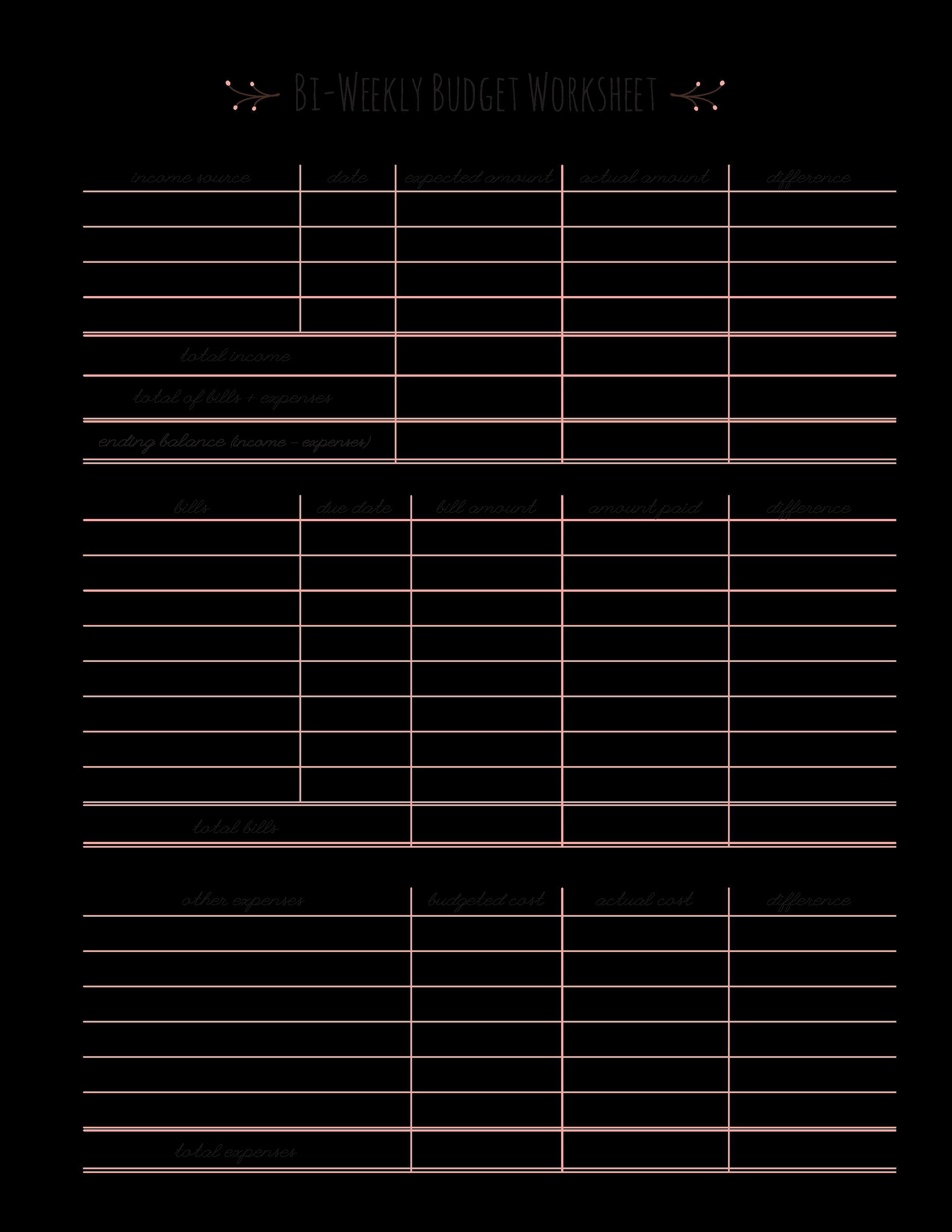 Bi Weekly Budget Printable Beautiful Bi Weekly Bud Worksheet