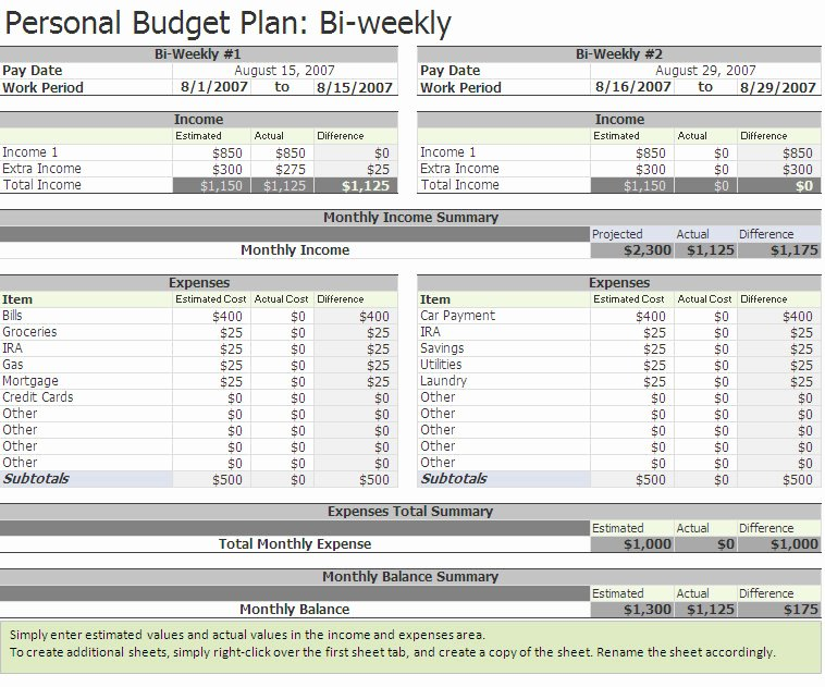 Bi Weekly Budget Printable Best Of Biweekly Bud