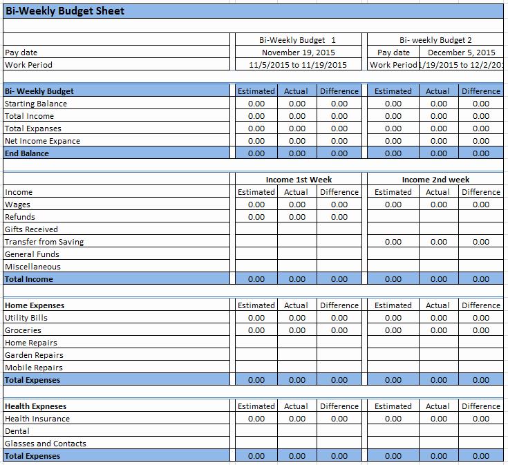 Bi Weekly Budget Printable Lovely 23 Free Bi Weekly Bud Templates Ms Fice Documents