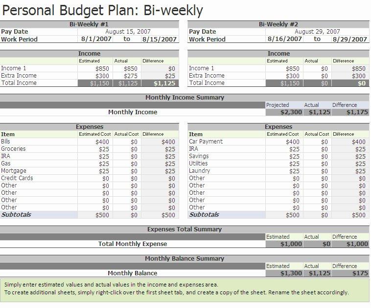 Bi Weekly Budget Worksheet Pdf Elegant Biweekly Bud