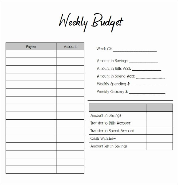Bi Weekly Budget Worksheet Pdf Elegant Free 10 Weekly Bud Samples In Google Docs Google Sheets Ms Excel Ms Word