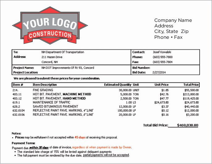 Bid Proposal Template Excel Beautiful Subcontractor Bid Proposal Template