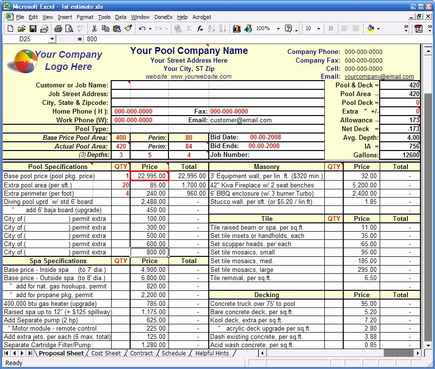 Bid Proposal Template Excel Inspirational Pooltemplates