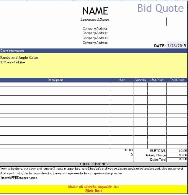 Bid Proposal Template Excel Lovely 60 Quotation Templates
