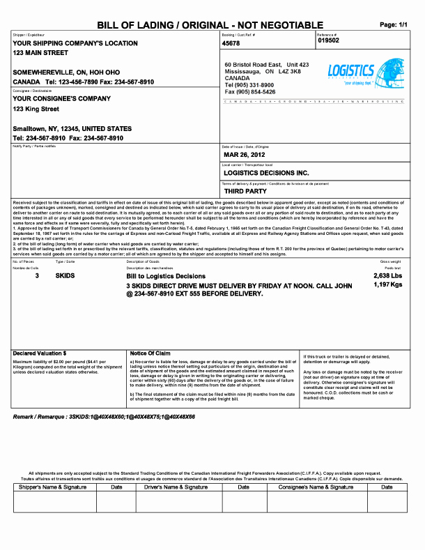 Bill Of Lading Excel Beautiful 21 Free Bill Of Lading Template Word Excel formats