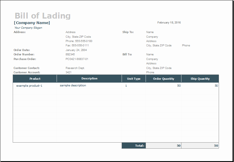 Bill Of Lading Excel Fresh Bill Of Lading Template for Ms Excel