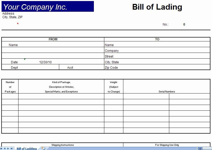 Bill Of Lading Excel Lovely Bill Of Lading Template