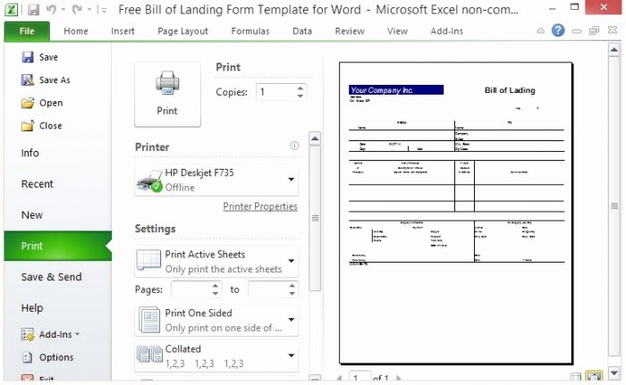 free bill of lading form template excel