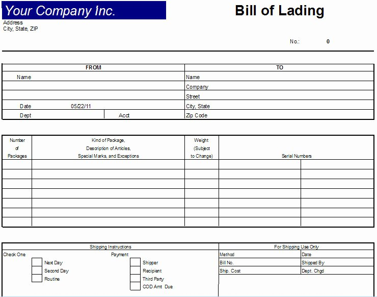Bill Of Lading Excel Luxury Excel Bill Lading Template