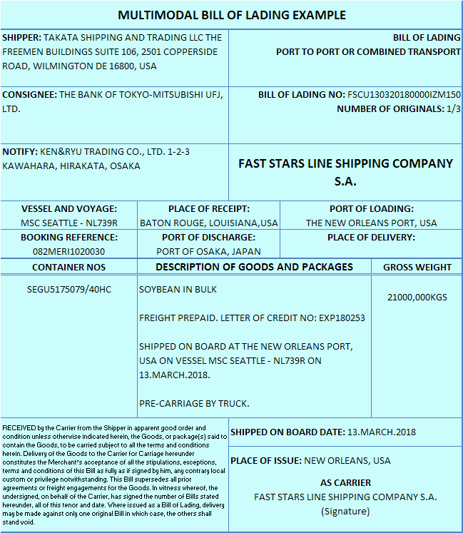 Bill Of Lading Sample Doc Beautiful Multimodal Bill Of Lading Letterofcreditz Lc