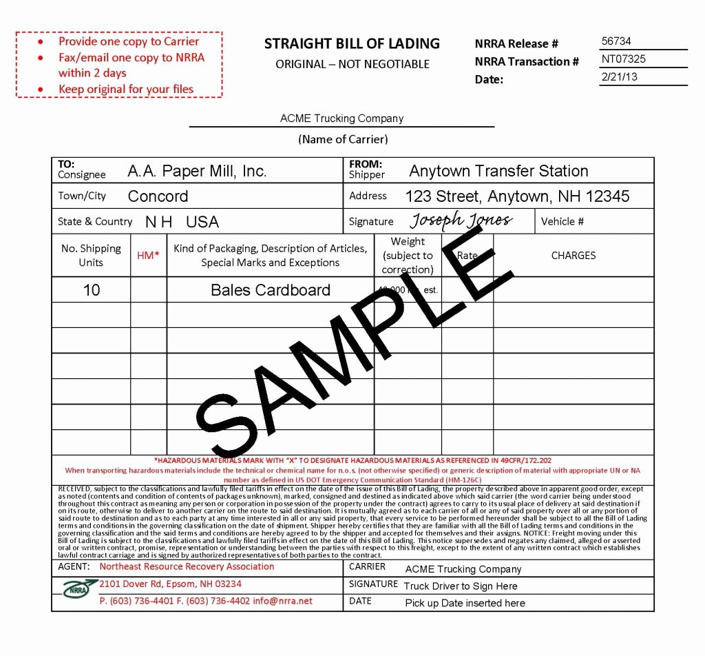 Bill Of Lading Sample Doc Elegant Bills Of Lading Bols & Other forms
