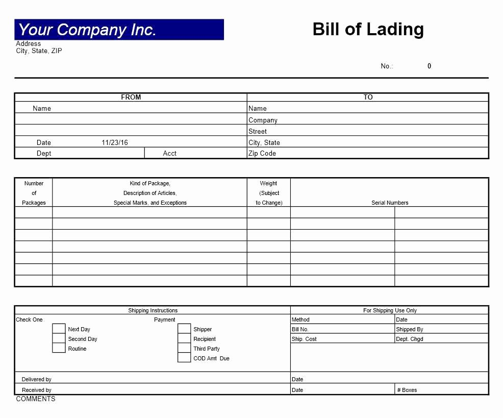 Bill Of Lading Template Excel Beautiful Bill Of Lading Template Excel Templates