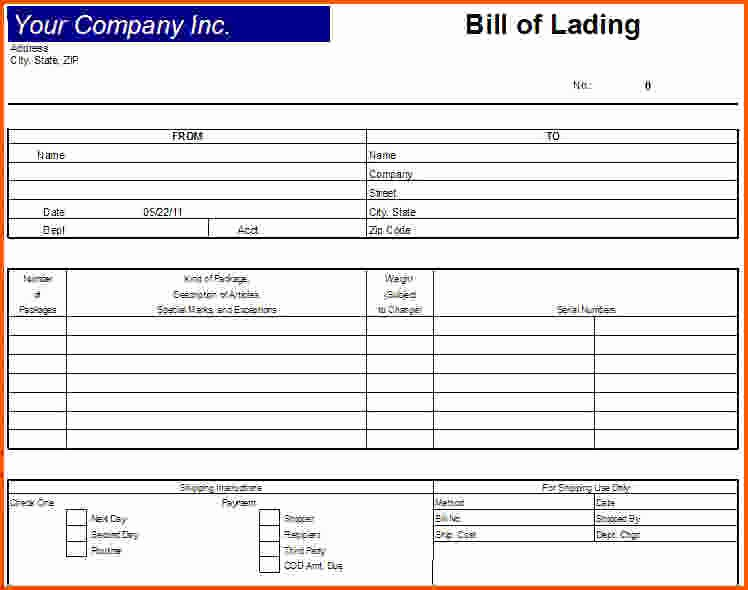 Bill Of Lading Template Excel Luxury 6 Bill Of Lading Template