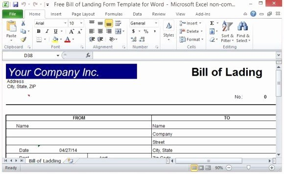Bill Of Lading Template Excel Luxury Free Bill Of Lading form Template for Excel
