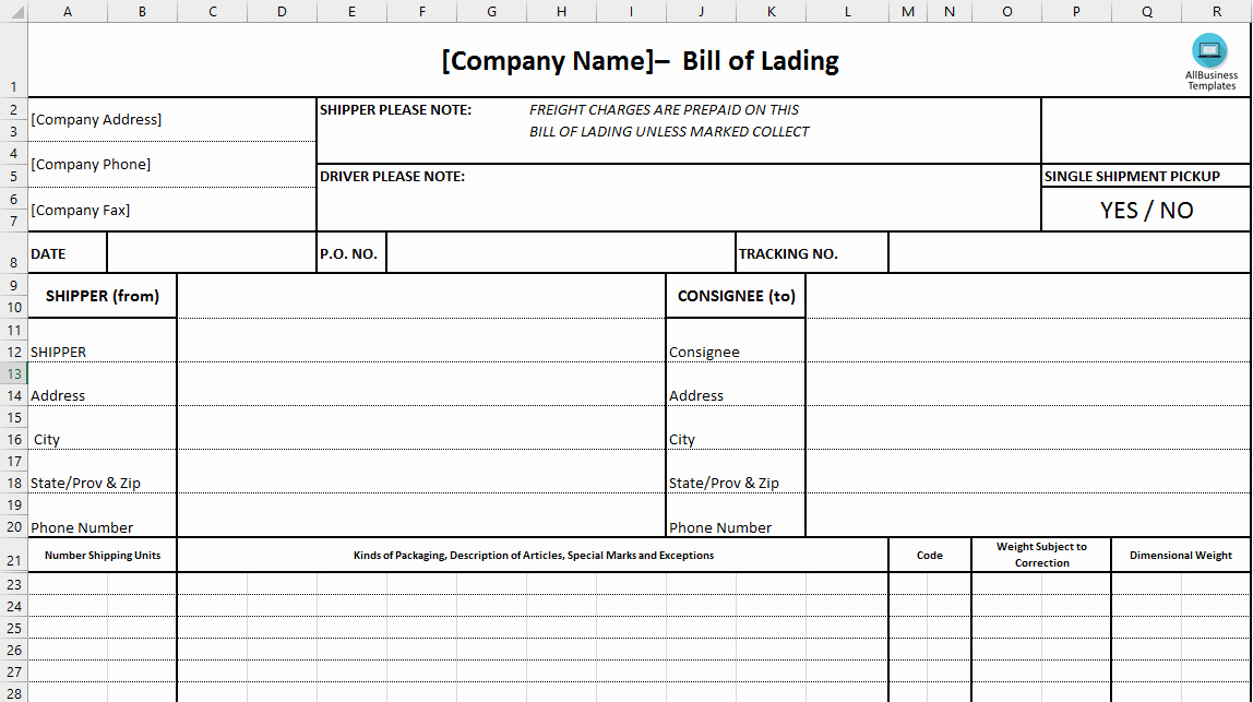 Bill Of Lading Template Excel Unique Free Bill Of Lading Excel Template