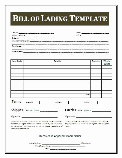 Bill Of Lading Template Word Awesome Bill Lading Template
