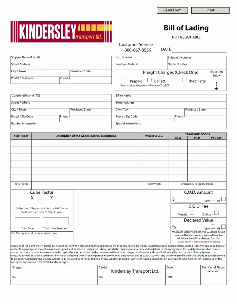 Bill Of Lading Template Word Fresh 29 Bill Of Lading Templates Free Word Pdf Excel format Downloads