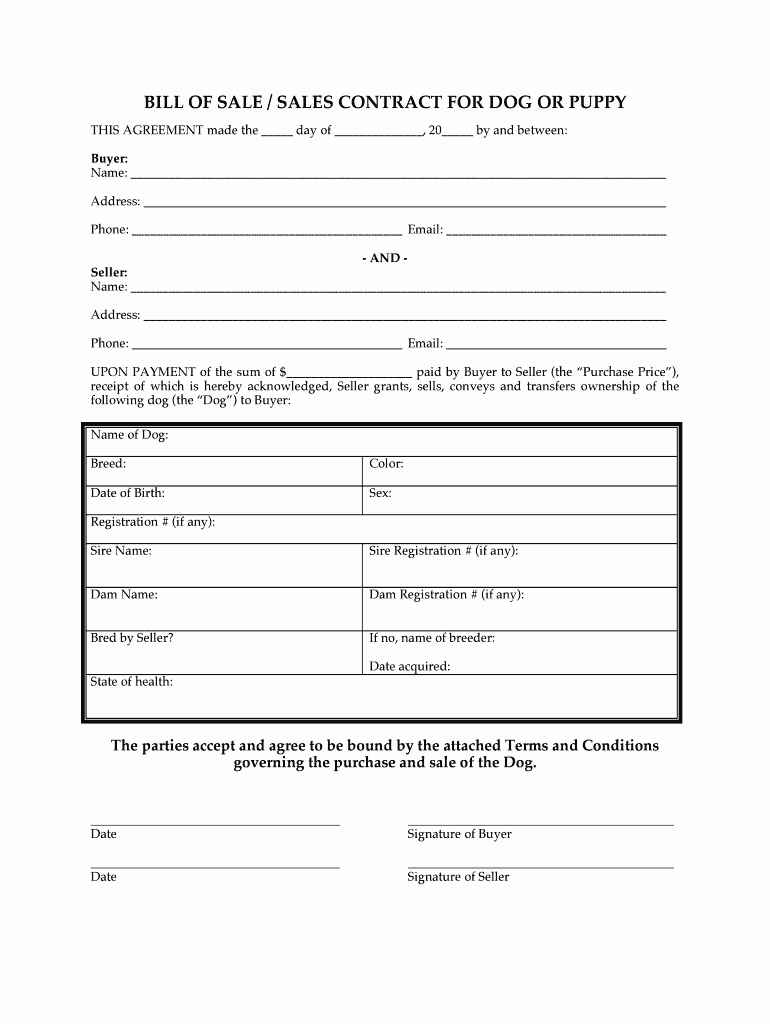 Bill Of Sale Dog Elegant Puppy Agreement form Fill Line Printable Fillable