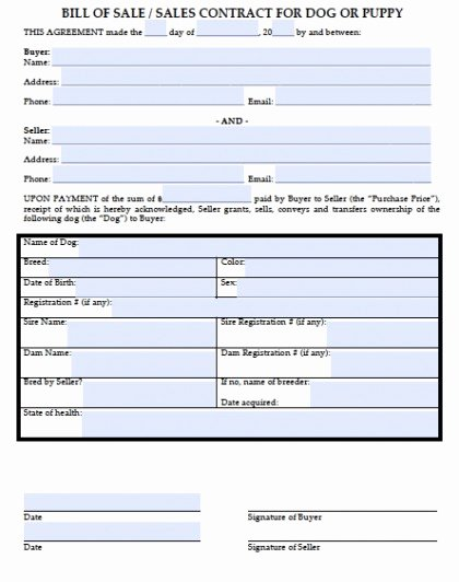 Bill Of Sale Dog New Download Bill Of Sale for A Dog Puppy Wikidownload