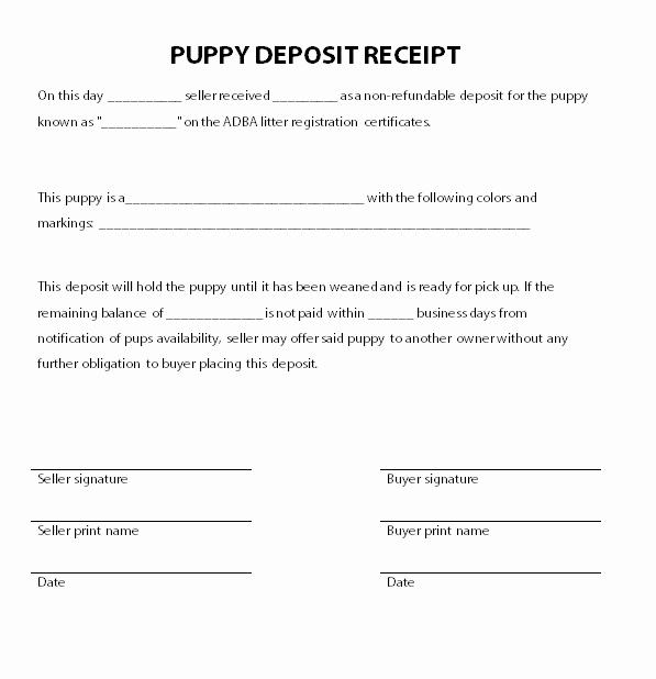 Bill Of Sale Dog New Puppy Deposit Receipt
