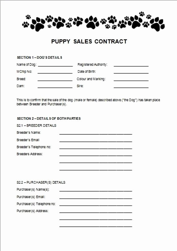 Bill Of Sale Dog Unique Items Similar to Puppy Sales Contract On Etsy