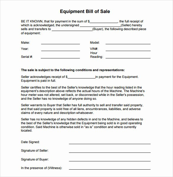 Bill Of Sale Equipment Best Of Sample Equipment Bill Of Sale Template 7 Free Documents In Pdf