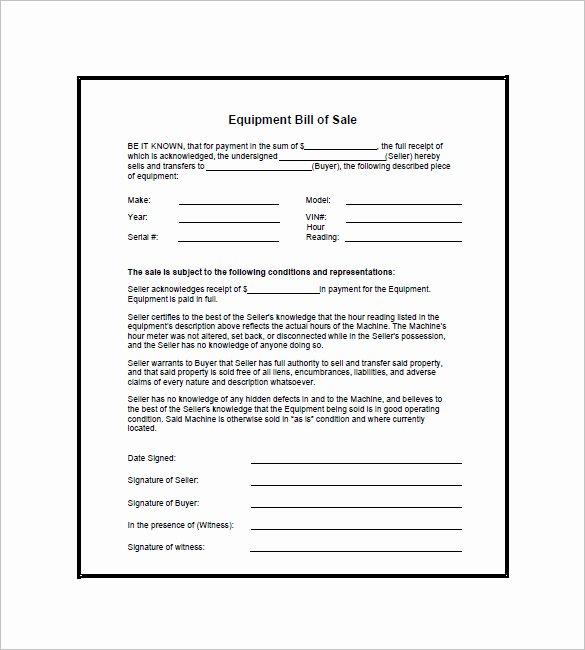 Bill Of Sale Equipment Luxury Equipment Bill Of Sale 7 Free Word Excel Pdf format Download