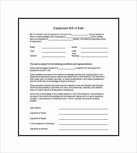 Bill Of Sale for Equipment Awesome Equipment Bill Of Sale 7 Free Word Excel Pdf format Download