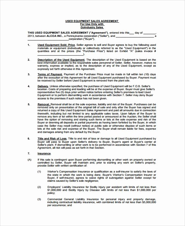 Bill Of Sale for Equipment Beautiful Sample Equipment Bill Of Sale 6 Documents In Pdf Word
