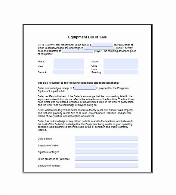 Bill Of Sale for Equipment Elegant Equipment Bill Of Sale 7 Free Word Excel Pdf format Download
