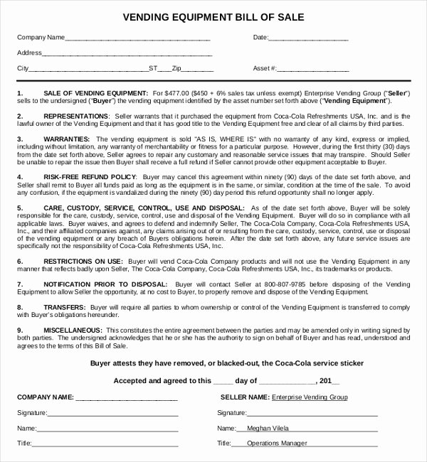 Bill Of Sale for Equipment Fresh Free 7 Sample Equipment Bill Of Sale forms