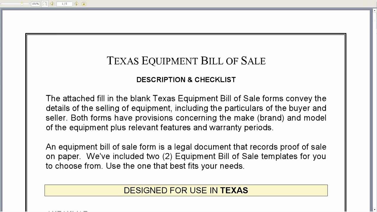 Bill Of Sale for Equipment Fresh Texas Equipment Bill Of Sale