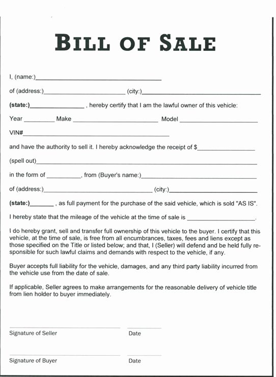 Bill Of Sale for Equipment Lovely Free Printable Tractor Bill Of Sale form Generic