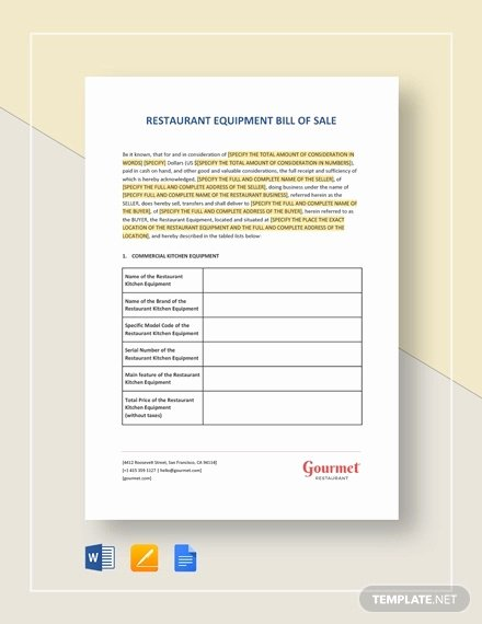Bill Of Sale for Equipment Luxury Equipment Bill Of Sale 7 Free Word Excel Pdf format Download