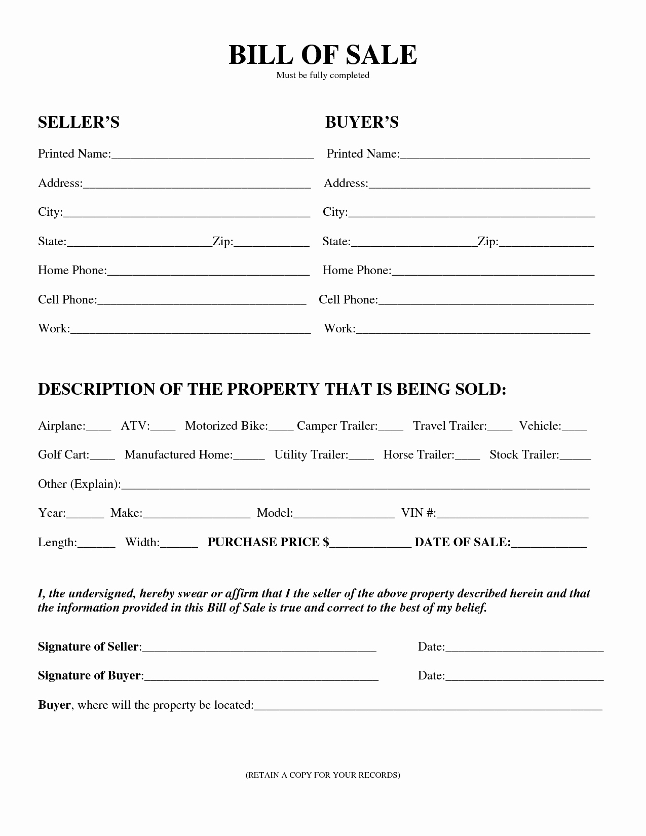 Bill Of Sale for Equipment New Free Printable Equipment Bill Sale Template form Generic