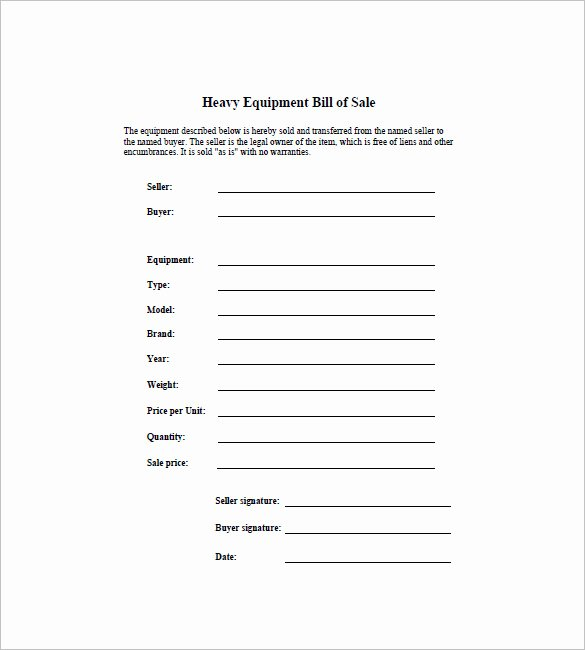 Bill Of Sale for Equipment Unique Bill Of Sale Template 44 Free Word Excel Pdf Documents Downloaad