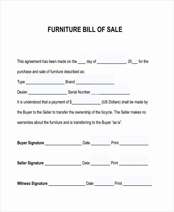 Bill Of Sale for Furniture Lovely Furniture Bill Sale Free & Premium Templates Bill Of Sale form