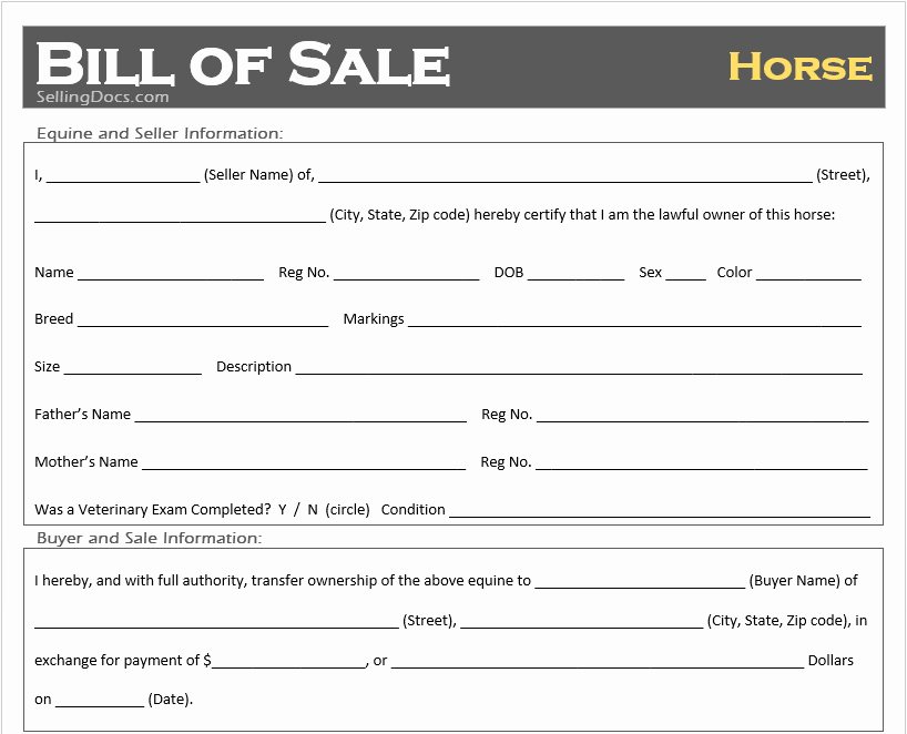 Bill Of Sale for Horse Beautiful Free Printable Horse Bill Of Sale Template Selling Docs