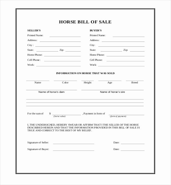 Bill Of Sale for Horse Unique Free 7 Sample Horse Bill Of Sale forms In Pdf