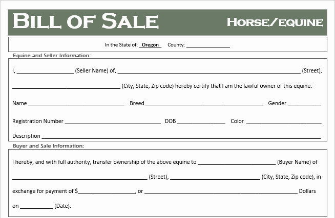 Bill Of Sale for Horses Lovely Free oregon Horse Equine Bill Of Sale Template F Road Freedom