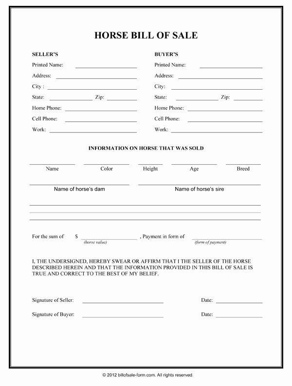 Bill Of Sale for Horses Lovely Horse Bill Sale form