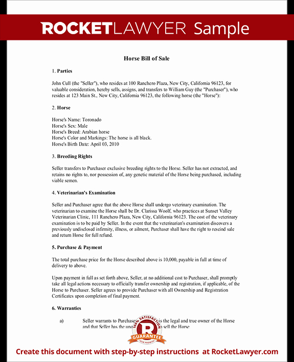 Bill Of Sale Horse Fresh Horse Bill Of Sale form Bill Of Sale for Horse Template with Sample