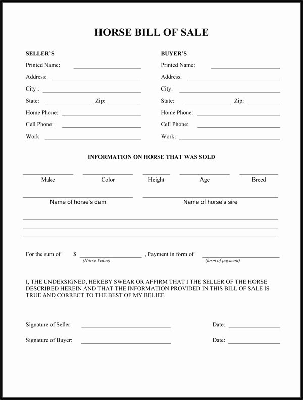 Bill Of Sale Horse Luxury Best S Of Easy Printable Bill Sale Free Printable Blank Bill Of Sale form Printable