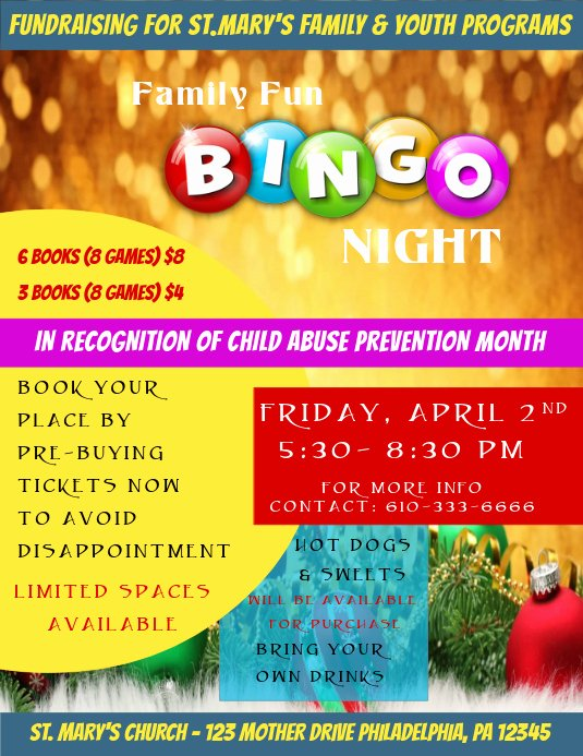 Bingo Flyer Template Free Awesome Bingo Night Flyer Template