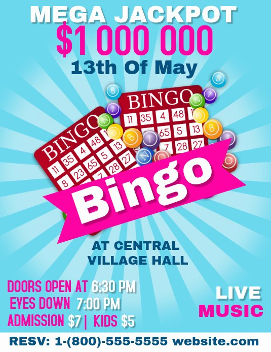 Bingo Flyer Template Free Elegant Bingo Night Template