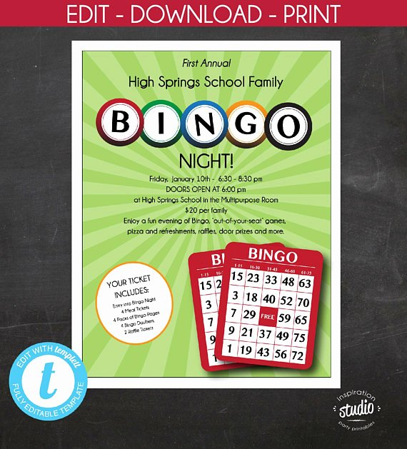 Bingo Flyer Template Free Luxury Editable Bingo Night Flyer Family Mother son Night School