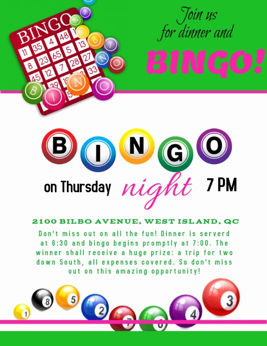 Bingo Flyer Template Free Unique Bingo Night Template