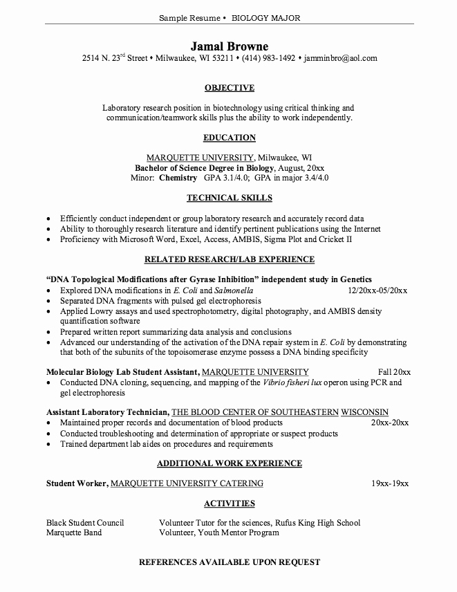Biology Research assistant Resume Best Of Pin by Latifah On Example Resume Cv