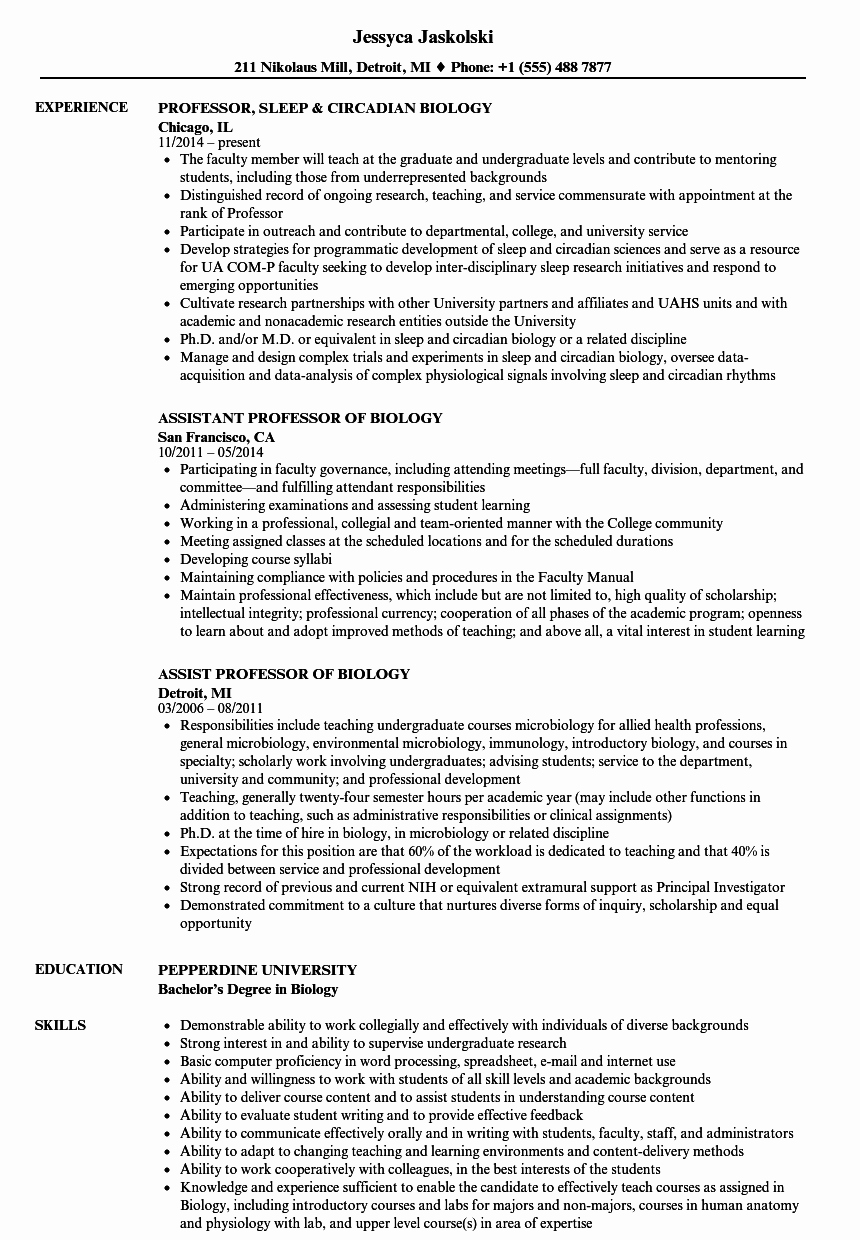 Biology Research assistant Resume Luxury Biology Professor Resume Samples