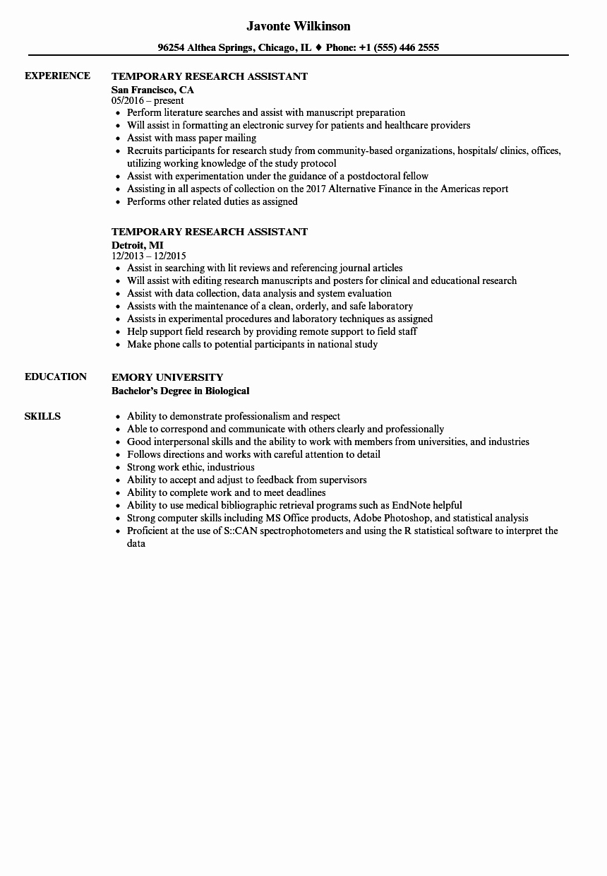 Biology Research assistant Resume Unique Temporary Research assistant Resume Samples